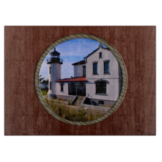 Admiralty Head Lighthouse Rope and Wood border Cutting Board