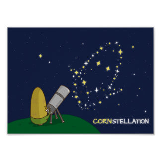 Admire the Stars Constellation Cute Puny Corn Poster