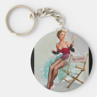 Admiring Miss Sylvania Pin Up Art Keychain