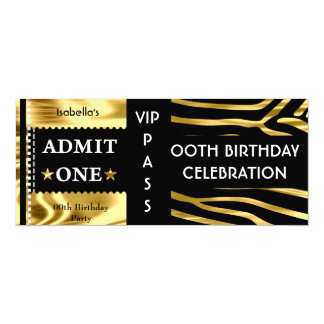 Admission Birthday Party Zebra Gold Black Card