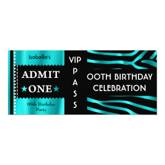 Admission Birthday Party Zebra Teal Blue Black Card