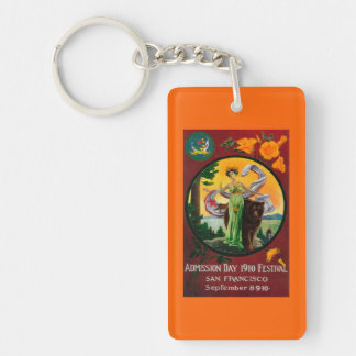 Admission Day Advertisment, State Festival Double-Sided Rectangular Acrylic Keychain