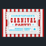 "Admission Red White Carnival Birthday Party Sign<br><div class=""desc"">Fun,  cheery carnival colored red,  blue and white yard sign is designed like an admission ticket and announces where the Birthday Carnival is. Personalized with your child&#39;s name,  and all other text can be customized as well. Also available in a polkadot version.</div>"