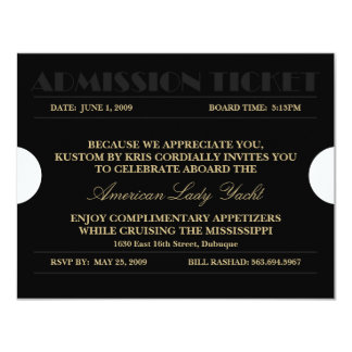 Admission Ticket 4.25x5.5 Invitations