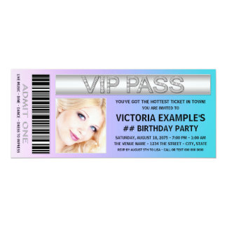 "Admission Ticket Birthday Party 4"" X 9.25"" Invitation Card"