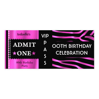Admission Ticket Birthday Party Zebra Pink Black Card