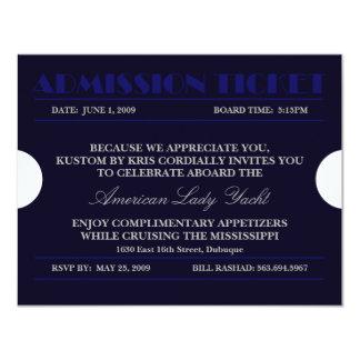 Admission Ticket Blue 4.25x5.5 Invitations