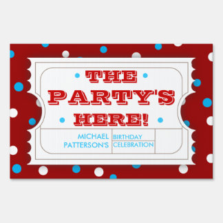 Admission Ticket Blue Red Birthday Party Sign