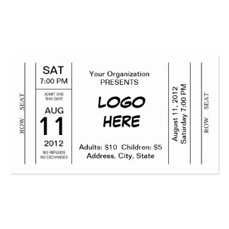 Admission Ticket Business Cards