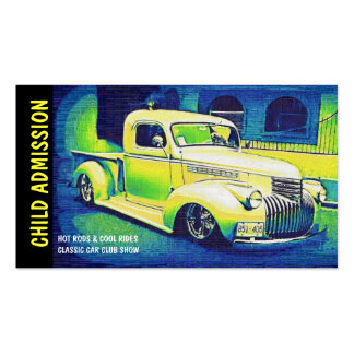 Admission Ticket for Classic Auto Show or Club Business Card Template