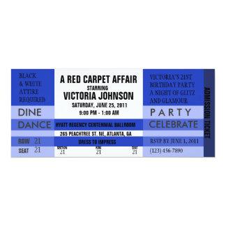 """Admission Ticket Invite [Blue] 4"""" X 9.25"""" Invitation Card"""