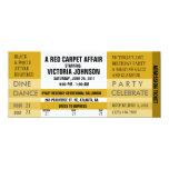 """Admission Ticket Invite [Gold] 4"""" X 9.25"""" Invitation Card"""