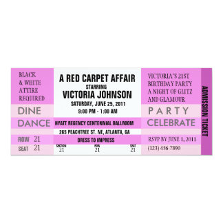 "Admission Ticket Invite [Pink] 4"" X 9.25"" Invitation Card"
