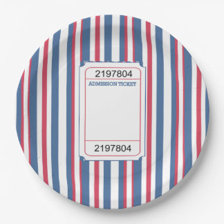 Admission Ticket Memorial Day Party Paper Plate