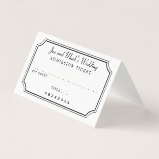 Admission Ticket Wedding Place Card