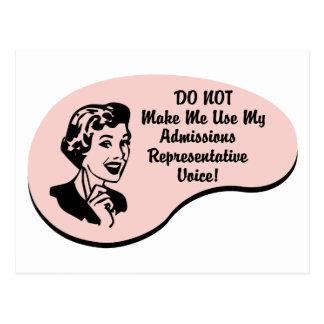 Admissions Representative Voice Postcard