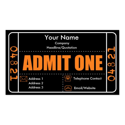 Admit One Ticket Template Business