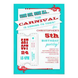 "Admit One Carnival Birthday Party Invitation 4.5"" X 6.25"" Invitation Card"