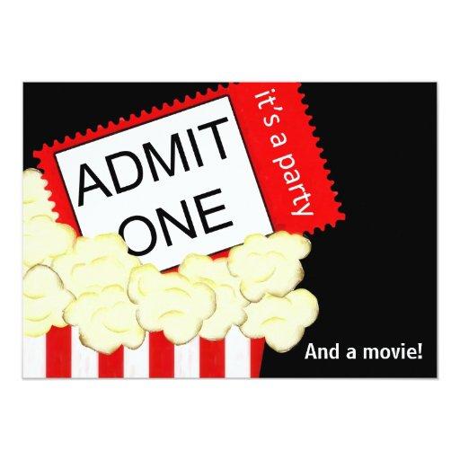"Admit One Movie and Birthday Party Invitation 5"" X 7"" Invitation Card"