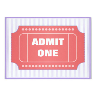 Admit One Movie Party Red Periwinkle 5x7 Paper Invitation Card
