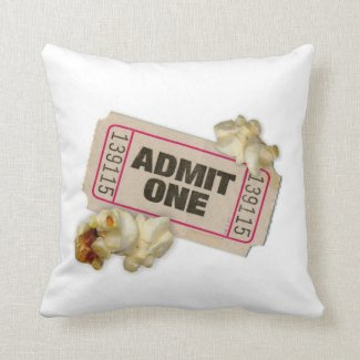 ADMIT ONE movie Ticket and Popcorn pillow