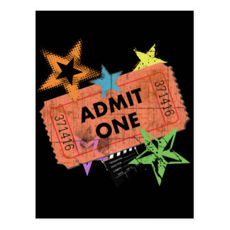 ADMIT ONE MOVIE TICKET POSTCARD