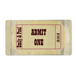 Admit One Save the Date Label