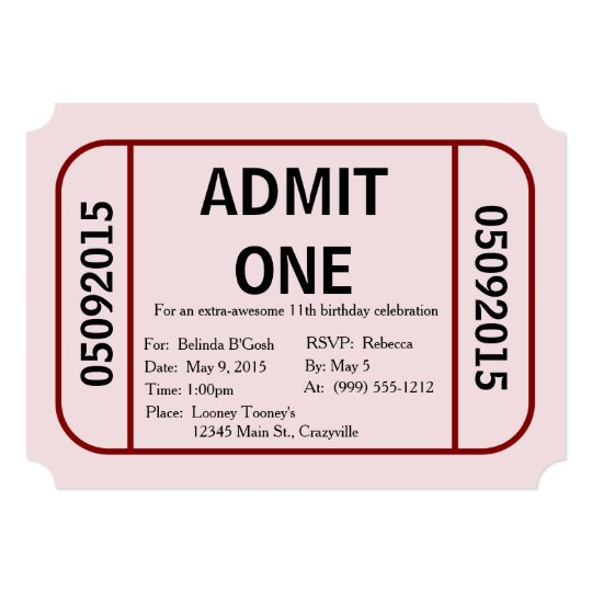 admit one ticket birthday party invitation zazzle com