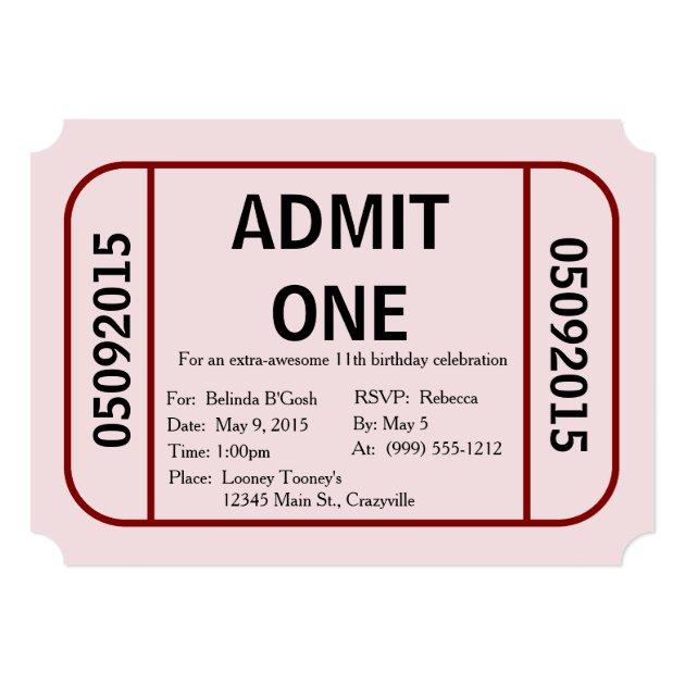 Admit One Ticket Birthday Party Invitation | Zazzle