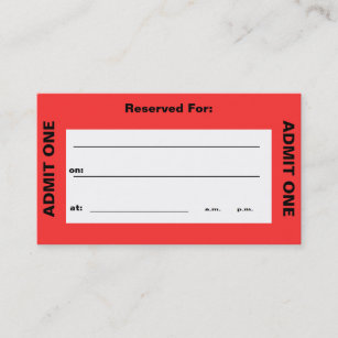 admit one ticket business card