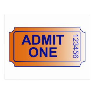 """""""Admit One""""-Ticket Postcard"""