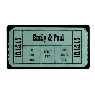 Admit TWO Save the Date TICKET Label