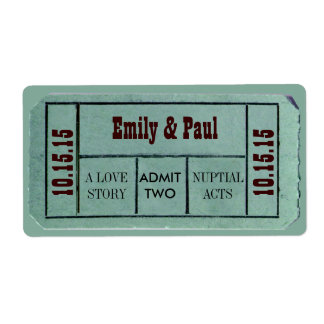 Admit TWO Save the Date TICKET Labels