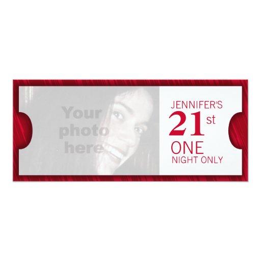 Admit two VIP 21st birthday party photo invite