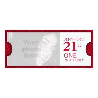 "Admit two VIP 21st birthday party photo invite 4"" X 9.25"" Invitation Card"