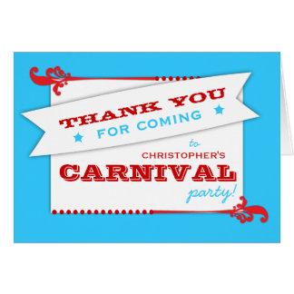 Admita que un cumpleaños del carnaval le agradece tarjeta pequeña