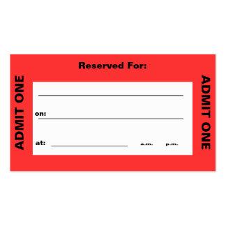 """""""Admita tarjeta de visita de un boleto"""""""