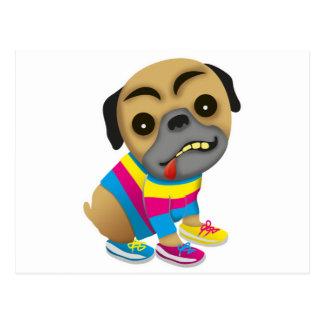 Admits like a multicolored dog post card