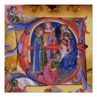 ADOATION OF MAGI NATIVITY PARCHMENT MONOGRAM POSTER