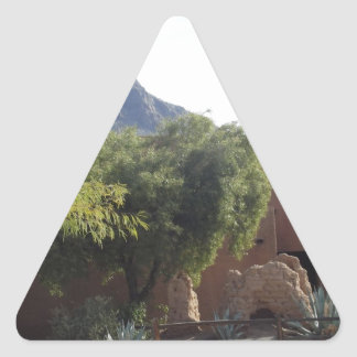 Adobe Building with Trees Triangle Sticker