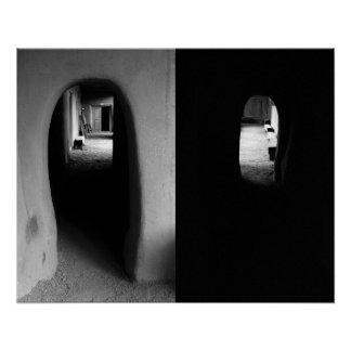 Adobe Corridor: Black and White photos print Poster