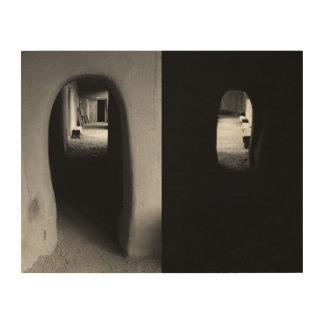 Adobe Corridor: Black and White photos Wood Print