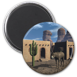 Adobe Dwellings and Burro 2 Inch Round Magnet