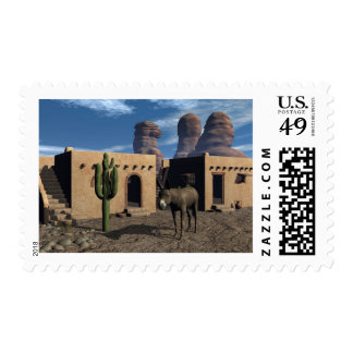 Adobe Dwellings and Burro Postage Stamp