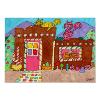 Adobe Gingerbread House With Cats Folk Art Poster