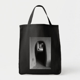 Adobe Passageway: Black & White photo Grocery Tote Bag