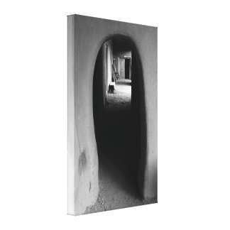 Adobe Passageway: Black & White photo canvas print