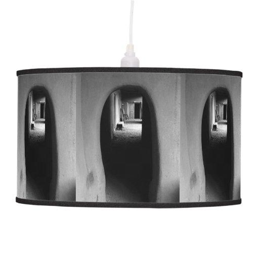 Adobe Passageway: Black & White photo Hanging Pendant Lamp