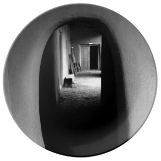 Adobe Passageway: Black & White photo Porcelain Plate