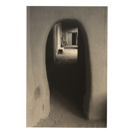 Adobe Passageway: Black & White photo Wood Canvas